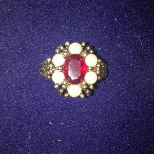 Vintage Red and White RoseGlow Ring